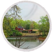 Country Living On The Tennessee River Round Beach Towel