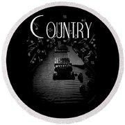 Country Music Guitar Music Round Beach Towel