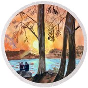 Couple Under Tree Round Beach Towel