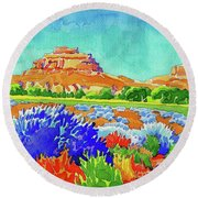 Round Beach Towel featuring the painting Courthouse And Jail Watercolor by Dan Miller