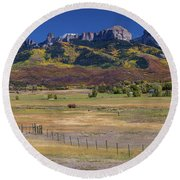 Round Beach Towel featuring the photograph Courthouse Mountains And Chimney Rock Peak by James BO Insogna