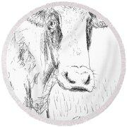 Cow Doodle Round Beach Towel