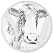Cow Doodle Round Beach Towel