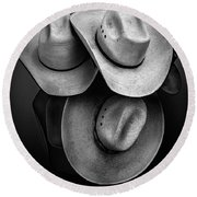 Cowboy Hats In Black And White Round Beach Towel