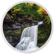 Round Beach Towel featuring the photograph Cowshed Falls At Watkins Glen State Park - Finger Lakes, New York by Lynn Bauer