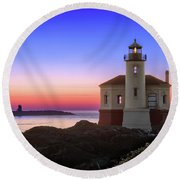 Crab Boat At The Bandon Lighthouse Round Beach Towel