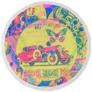 Crafty Car Commercial Round Beach Towel