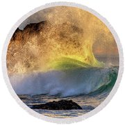 Crashing Wave Leo Carrillo Beach Round Beach Towel
