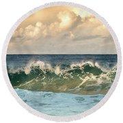 Crashing Waves And Cloudy Sky Round Beach Towel