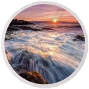 Crashing Waves At Sunrise, Nubble Light.  Round Beach Towel