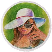 Craving Summer Woman With A Hat Round Beach Towel