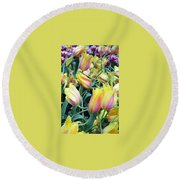 Crazy Tulips Round Beach Towel