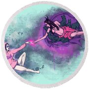 Creation Of Woman Round Beach Towel