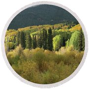 Round Beach Towel featuring the photograph Crested Butte Colorado Fall Colors Panorama - 1 by OLena Art Brand