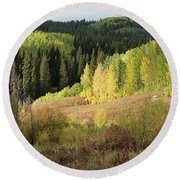 Round Beach Towel featuring the photograph Crested Butte Colorado Fall Colors Panorama - 2 by OLena Art Brand