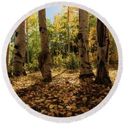 Round Beach Towel featuring the photograph Crested Butte Colorado Fall Colors Panorama - 3 by OLena Art Brand