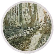 Cresting The Hill Round Beach Towel