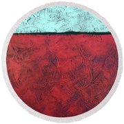 Crimson Earth Meets Pearl Sky Round Beach Towel