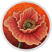 Round Beach Towel featuring the painting Crimson Quest by Amy E Fraser