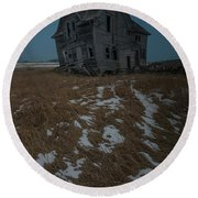 Round Beach Towel featuring the photograph Crooked Moon by Aaron J Groen