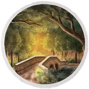 Crossing Little Antietam Creek  Round Beach Towel