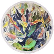 Round Beach Towel featuring the mixed media Croton Plant by Tilly Strauss