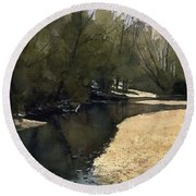 Crow Creek, Augusta, Missouri Round Beach Towel