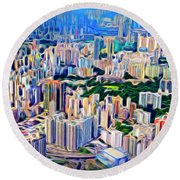 Crowded Hong Kong Abstract Round Beach Towel