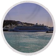 Round Beach Towel featuring the photograph Cruise Ships by Tony Murtagh