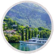 Cruising Lake Lucerne Round Beach Towel