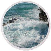 Crushing Waves In Porto Covo Round Beach Towel