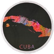 Cuba Tie Dye Country Map Round Beach Towel