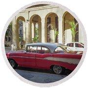 Cuban Chevy Bel Air Round Beach Towel