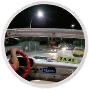 Cuban Taxi Driver Driving At Night Round Beach Towel