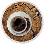 Cup Of Coffe On Wood Round Beach Towel