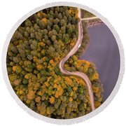 Curved Road At Lakeside Round Beach Towel