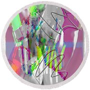 Curves Collage Round Beach Towel