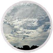 Curvy Clouds Round Beach Towel