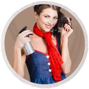 Cute Girl Model Styling A Hairdo. Pinup Your Hair Round Beach Towel