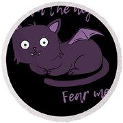 Cute Halloween Cat I Am The Night Fear Me Round Beach Towel