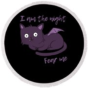 Cute Halloween Cat I Am The Night Fear Me Round Beach Towel