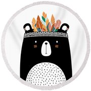 Cute Tribal Bear - Boho Chic Ethnic Nursery Art Poster Print Round Beach Towel