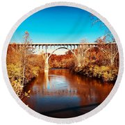 Cuyahoga River At Autumn Round Beach Towel