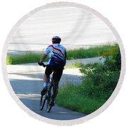 Cyclist Action Round Beach Towel