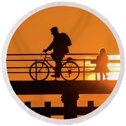 Cyclist Silhouetted At Sunset Round Beach Towel