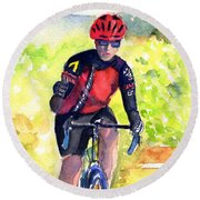 Cyclist Thumbs-up Ride Round Beach Towel
