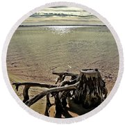 Cypress On The Beach Round Beach Towel