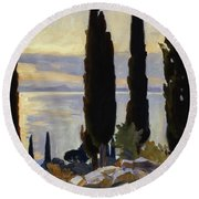 Cypress Trees At San Vigilio, 1913  Round Beach Towel
