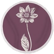 Dahlia Purple Flower Round Beach Towel