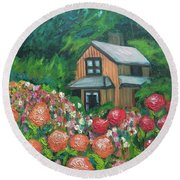 Dahlias In The Woods Round Beach Towel